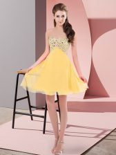 Affordable Gold Empire Chiffon Sweetheart Sleeveless Beading Mini Length Lace Up Dress for Prom
