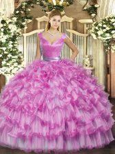 Custom Design V-neck Sleeveless Organza Sweet 16 Dress Ruffled Layers Zipper