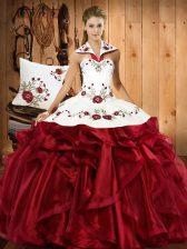 Cheap Ball Gowns Vestidos de Quinceanera Wine Red Halter Top Organza Sleeveless Floor Length Lace Up