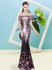 Sequined Short Sleeves Floor Length Prom Gown and Sequins