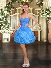 Luxury Baby Blue Sweetheart Lace Up Beading and Ruffles Homecoming Dress Sleeveless