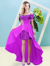 On Sale Elastic Woven Satin and Sequined Off The Shoulder Short Sleeves Lace Up Beading Homecoming Dress in Fuchsia