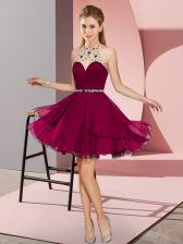 Fuchsia Zipper Halter Top Beading Prom Gown Chiffon Sleeveless