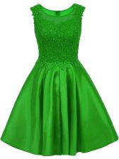 Scoop Sleeveless Zipper Dama Dress for Quinceanera Green Satin