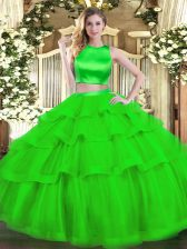 Noble High-neck Sleeveless Tulle Quince Ball Gowns Ruffled Layers Criss Cross