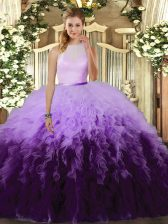 Pretty High-neck Sleeveless Ball Gown Prom Dress Floor Length Ruffles Multi-color Tulle