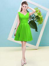 Simple Satin Zipper Quinceanera Dama Dress Sleeveless Mini Length Ruching