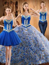 Wonderful Multi-color Satin and Fabric With Rolling Flowers Lace Up Quinceanera Gown Sleeveless With Train Sweep Train Embroidery