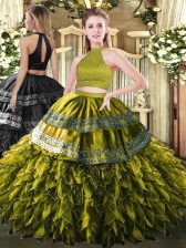 Cheap Olive Green Ball Gowns Beading and Embroidery and Ruffles Sweet 16 Quinceanera Dress Backless Satin and Organza Sleeveless Floor Length