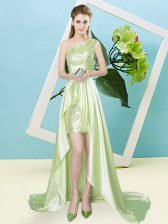 Smart Elastic Woven Satin and Sequined Sleeveless High Low and Sequins