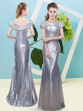 Sequins Prom Party Dress Silver Zipper Cap Sleeves Floor Length