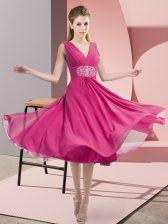 Ideal Hot Pink Side Zipper Quinceanera Court Dresses Beading Sleeveless Knee Length