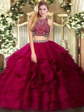 Classical Fuchsia Tulle Zipper High-neck Sleeveless Floor Length Sweet 16 Dresses Beading and Ruffled Layers