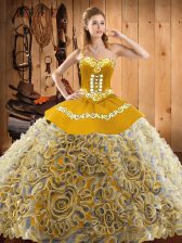 Satin and Fabric With Rolling Flowers Sweetheart Sleeveless Sweep Train Lace Up Embroidery Sweet 16 Dress in Multi-color