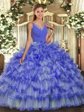 Ball Gowns Sweet 16 Dresses Lavender V-neck Organza Sleeveless Floor Length Backless