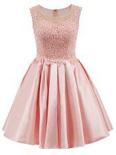 Comfortable Baby Pink Scoop Zipper Lace Dama Dress Sleeveless