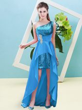 Best Selling One Shoulder Sleeveless Evening Dress High Low Beading and Sequins Baby Blue Elastic Woven Satin and Sequined