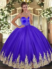 Lavender Sweetheart Lace Up Appliques Quince Ball Gowns Sleeveless