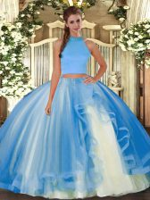 Halter Top Sleeveless Backless Quince Ball Gowns Light Blue Tulle
