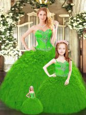 Beading and Ruffles Quinceanera Dresses Lace Up Sleeveless Floor Length