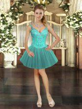 Beading Prom Party Dress Turquoise Lace Up Sleeveless Mini Length