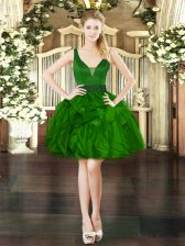 Dark Green Sleeveless Organza Lace Up Prom Evening Gown for Prom and Party