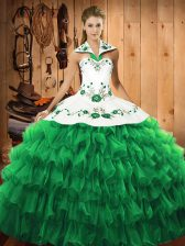 Long Sleeves Satin and Organza Floor Length Lace Up Sweet 16 Quinceanera Dress in Green with Embroidery and Ruffled Layers