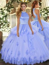 Spectacular Lavender Backless Quinceanera Dresses Beading and Appliques Sleeveless Floor Length