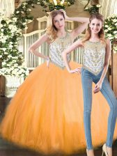 Scoop Sleeveless Tulle Quince Ball Gowns Beading Zipper