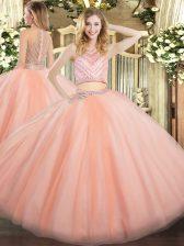 Tulle High-neck Sleeveless Zipper Beading Sweet 16 Dress in Peach