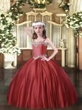 Wine Red Ball Gowns Satin Straps Sleeveless Beading Floor Length Lace Up Pageant Gowns For Girls