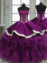 Purple Ball Gowns Sweetheart Sleeveless Satin and Organza Floor Length Lace Up Beading and Ruffles Ball Gown Prom Dress