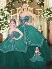 Sexy Dark Green Sleeveless Satin and Tulle Lace Up Quinceanera Gown for Military Ball and Sweet 16 and Quinceanera