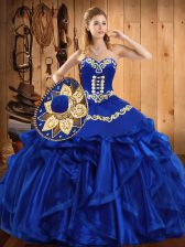 Royal Blue Organza Lace Up Sweetheart Sleeveless Floor Length Vestidos de Quinceanera Embroidery and Ruffles