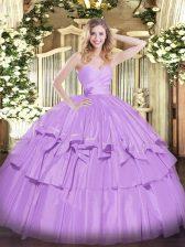 Floor Length Lavender Vestidos de Quinceanera Sweetheart Sleeveless Lace Up