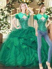 Unique Floor Length Dark Green Sweet 16 Dresses Tulle Sleeveless Beading and Ruffles