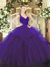 Super Purple Ball Gowns V-neck Sleeveless Organza Floor Length Backless Beading and Lace and Ruffles Ball Gown Prom Dress