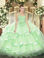 Exceptional Apple Green Organza Zipper Quinceanera Dresses Sleeveless Floor Length Beading and Ruffled Layers