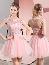 Best Selling Baby Pink Sleeveless Knee Length Beading and Lace Side Zipper Damas Dress