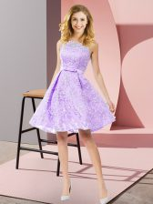 Stunning Scoop Sleeveless Lace Vestidos de Damas Bowknot Zipper