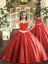 Elegant Sleeveless Lace Up Floor Length Appliques Little Girls Pageant Gowns