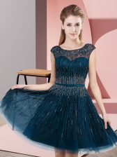 Exceptional Navy Blue Backless Scoop Beading Prom Evening Gown Tulle Sleeveless