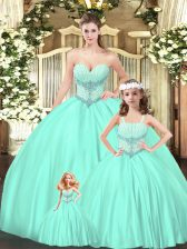 Lovely Sleeveless Tulle Floor Length Lace Up Quince Ball Gowns in Aqua Blue with Beading