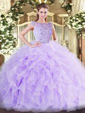 Floor Length Ball Gowns Sleeveless Lavender Quinceanera Gown Zipper