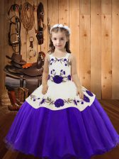 Organza Sleeveless Floor Length Kids Pageant Dress and Embroidery