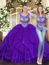 Chic Purple Scoop Lace Up Beading and Ruffles Sweet 16 Dresses Sleeveless