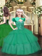Ball Gowns Winning Pageant Gowns Turquoise Straps Organza Sleeveless Floor Length Lace Up
