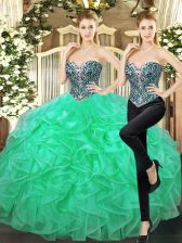 Dramatic Turquoise Ball Gowns Tulle Sweetheart Sleeveless Beading and Ruffles Floor Length Lace Up Quinceanera Gown