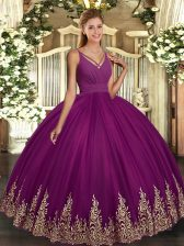 Custom Design Purple Ball Gowns V-neck Sleeveless Tulle Floor Length Backless Beading and Appliques 15 Quinceanera Dress