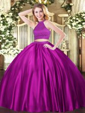 High Class Fuchsia Sleeveless Tulle Backless 15th Birthday Dress for Military Ball and Sweet 16 and Quinceanera
